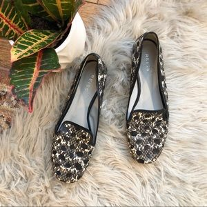 Reiss Spotted Snake Print Leather Flats